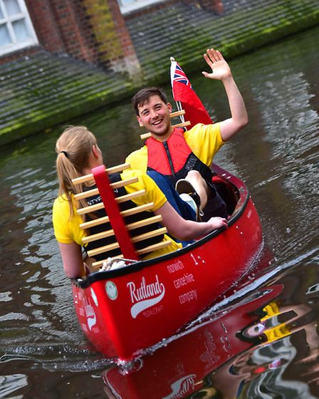 Joe Rutland who has started the Norwich Canoe Hire Company on the River Wensum. Pictured with his wi