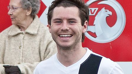 Alex Vincent scored twice for Swffham in their FA Cup clash with Thetford. Picture: Eddie Deane
