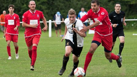 Action from Swaffham Town's 2-2 draw with FC Clacton at Shoemakers Lane, Joe Jackson in action. Pict