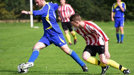 Sunday League football. Norwich Ceyms (red) against North Elmham. Picture: DENISE BRADLEY