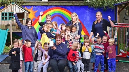 Magdalen Gates Preschool celebrate their award.Picture: ANTONY KELLY