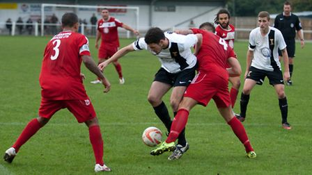 Action from Swaffham Town's 5-1 loss to Hadleigh United at Shoemakers Lane, Mark Allibone in the mix