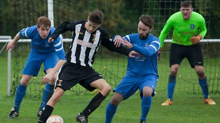 Action from Swaffham Town Reserves' 5-2 loss to Mattishall Reserves in Division Three of the Anglian