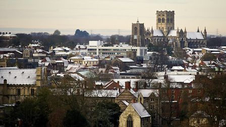 Early winter snow covers part of Norwich as seen from St James Hill.Picture: MARK BULLIMORE