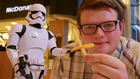 Norwich McDonalds worker Tom Elgie who took a break from flipping burgers to become a Stormtrooper i