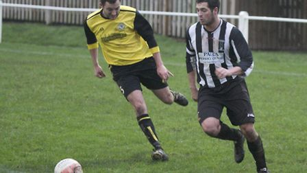 Action from Swaffham Town Reserves home victory over South Walsham at Shoemakers Lane, James Thompso