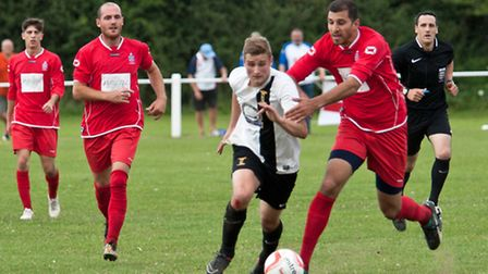 Joe Jackson, pictured in action for Swaffham during their 2-2 draw with FC Clacton at Shoemakers Lan