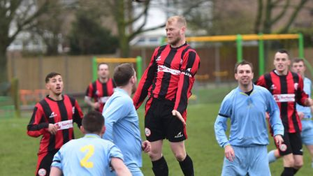 Action from Wymondham's Town's game against Loddon. Photo: Sonya Duncan