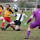 Action from Swaffham Town's 2-0 defeat to Stanway Rovers at Shoemakers Lane - Pedlars captain Dean M