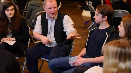 Director/producer Brendan Sheppard(centre) talks to young people wanting to enter the world of film