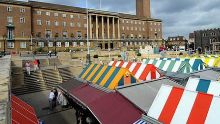 Norwich City Hall and market. Picture: Denise Bradley