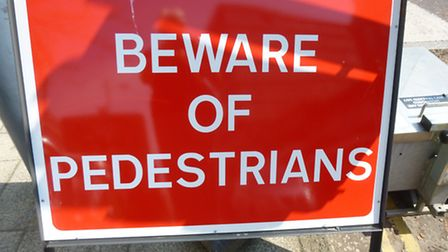 A sign put up during the St Stephens' roadworks warns of pedestrians.