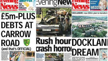 Front pages of the Evening News from previous years.