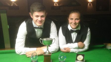 National under-19 champion Jack Easter u19s and girls champion Rochy Woods after winning their title