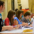 vote counting takes place at St Andrew's Hall, Norwich after the ballot boxes arrived in a fleet of