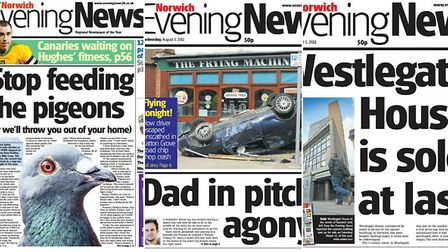 Evening News front pages through the years.