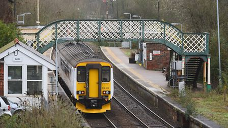 A train at Acle station on the Wherry Line which runs between Norwich and Great Yarmouth.Picture: Ja
