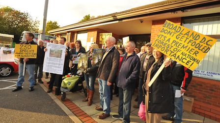 Protesters outside the public exhibition held at the Dussindale Centre on proposed ideas for the fut