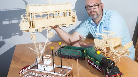 Darek Kusiak from Sprowston with matchstick models.PHOTO: Nick Butcher