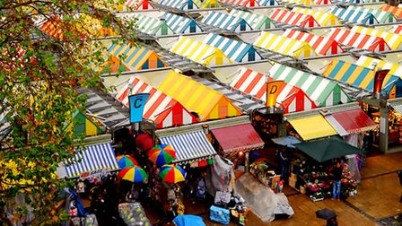 The colourful canopies of Norwich Market.