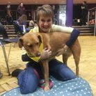 Jayne Evans and her labrador Delia at UEA for Pets As Therapy session. Picture: Jayne Evans