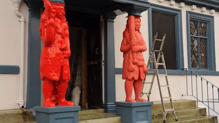 Painters have painted Samson postbox red, as rain holds up Hercules' makeover. Picture: DENISE BRADL