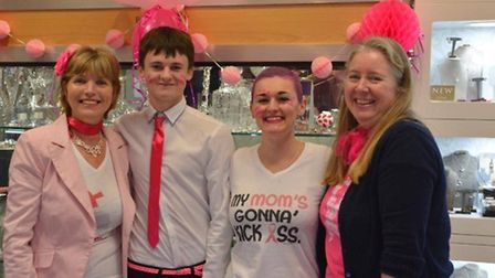 (L-R) Sue Jeckells, Connor Gray, Carly Moss, and Anna Hatch at the Wear it Pink Day at Bradley Hatch