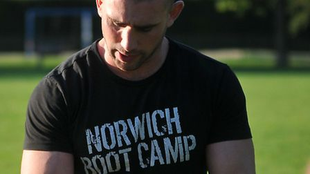 Norwich Boot Camp for the Norfolk mag's regular health page. the class in action being led by person