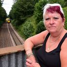 Nadine Parfitt at Postwick rail bridge near her home where the she is unhappy with the noise from th