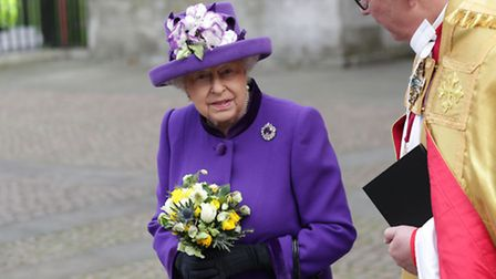 Queen Elizabeth II leaves Westminster Abbey in London after a service to mark the 60th anniversary o
