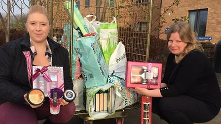 Donna Clarke (left), one of many people and businesses who has donated presents to the Send a Smile