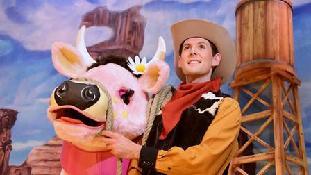 David Burilin as Jack with Daisy the Cow from this year's Norwich Theatre Royal panto, Jack and the