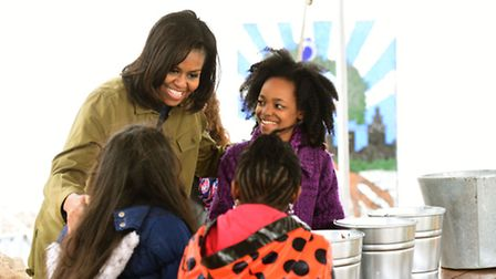First lady Michelle Obama joins students at Philip's Academy School in Newark USA. Picture: AP