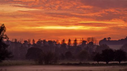 had a nice sunset outskirts of norwich love the thick mist over the farm