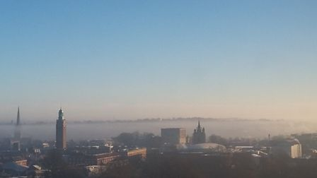 misty morning over Norwich
