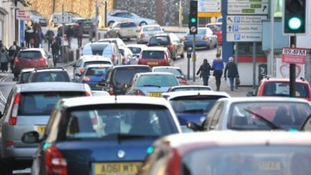 Traffic queuing in Norwich city centre. Picture by SIMON FINLAY.