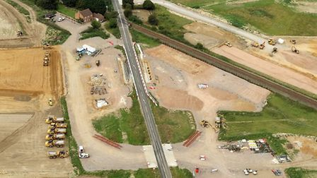 Aerial picture of work on the Northern Distributor Road at Plumstead Road. Picture: Mike Page.