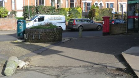 Corner of Unthank Road and Bury Street is not 'green'. There is graffiti on the rubbish bin and post