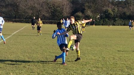 Action from Norwich Sunday League's B Division, with St Andrews beating Hellesdon 3-1. Photo: Steve