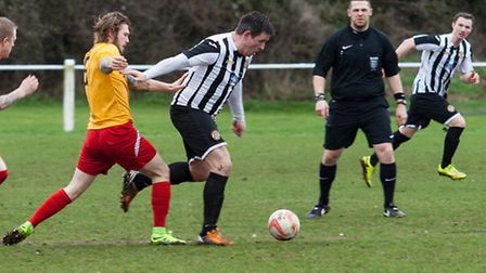 Jack Defty in action for Swaffham against Stanway Rovers. Picture: EDDIE DEANE