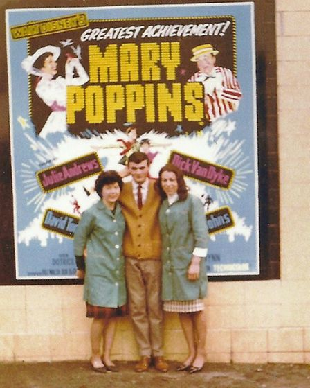Michael with two usherettes when Mary Poppins was being screened in November 1965.
