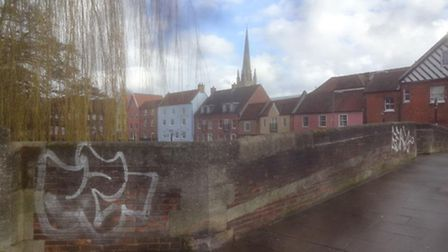 Fye Bridge with graffiti in Norwich. Picture: Oliver Chastney