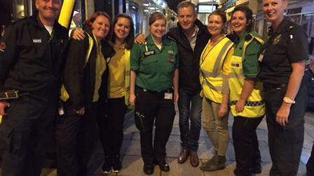 Jeremy Kyle with volunteers at the Norwich SOS Bus on Prince of Wales Road, whilst filming his docum
