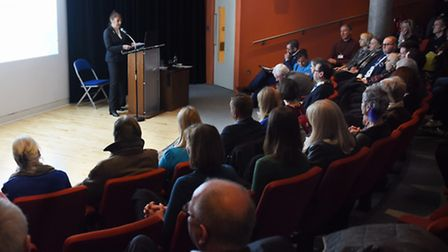Susan Ringwood, chairman of the Dementia Action Alliance, speaks at the launch to make Norwich a dem