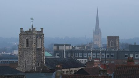 Overlooking Norwich across the rooftops at the top of St Giles car park. Picture: Val Bond