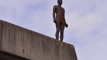 Official unveiling of Antony Gormley's 3X Another Time sculptures at the University of East Anglia.P
