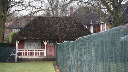 The thatched pavillion at the Heigham Park grass tennis courts which the city council are proposing