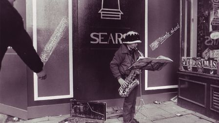 Clive Trenton busking. Photo: Archant Library