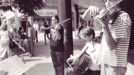 Buskers, Matthew Perrement, Jack Matthew and Dominic Hopkins. Photo: Archant Library