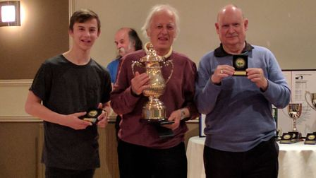 League Champions Maltings A, from left to right Nathan Boughen, Kelvin Fairweather and John Heyhoe.